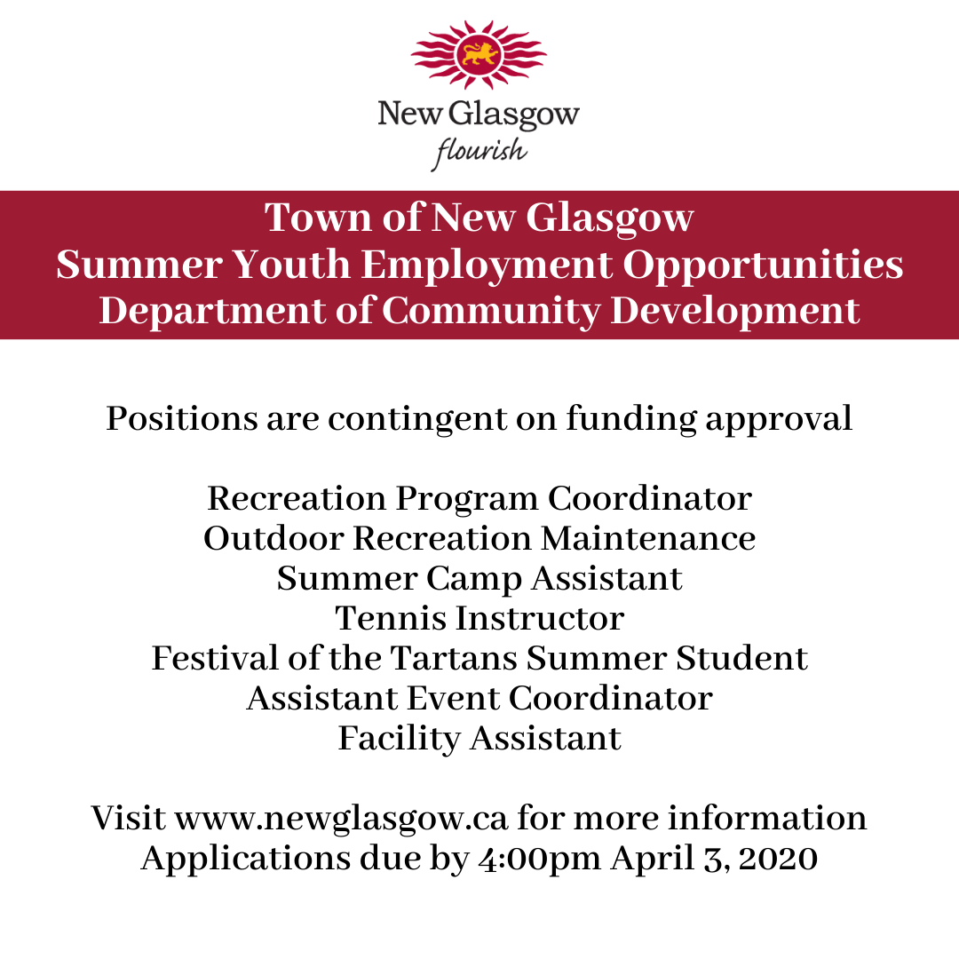 Summer yotuh employement positions include a recreation program coordinator, outdoor recreation maintenance, summer camp assistant, tennis instructor, festival of the tartans summer student, assistant event coordinator and facility assistant.