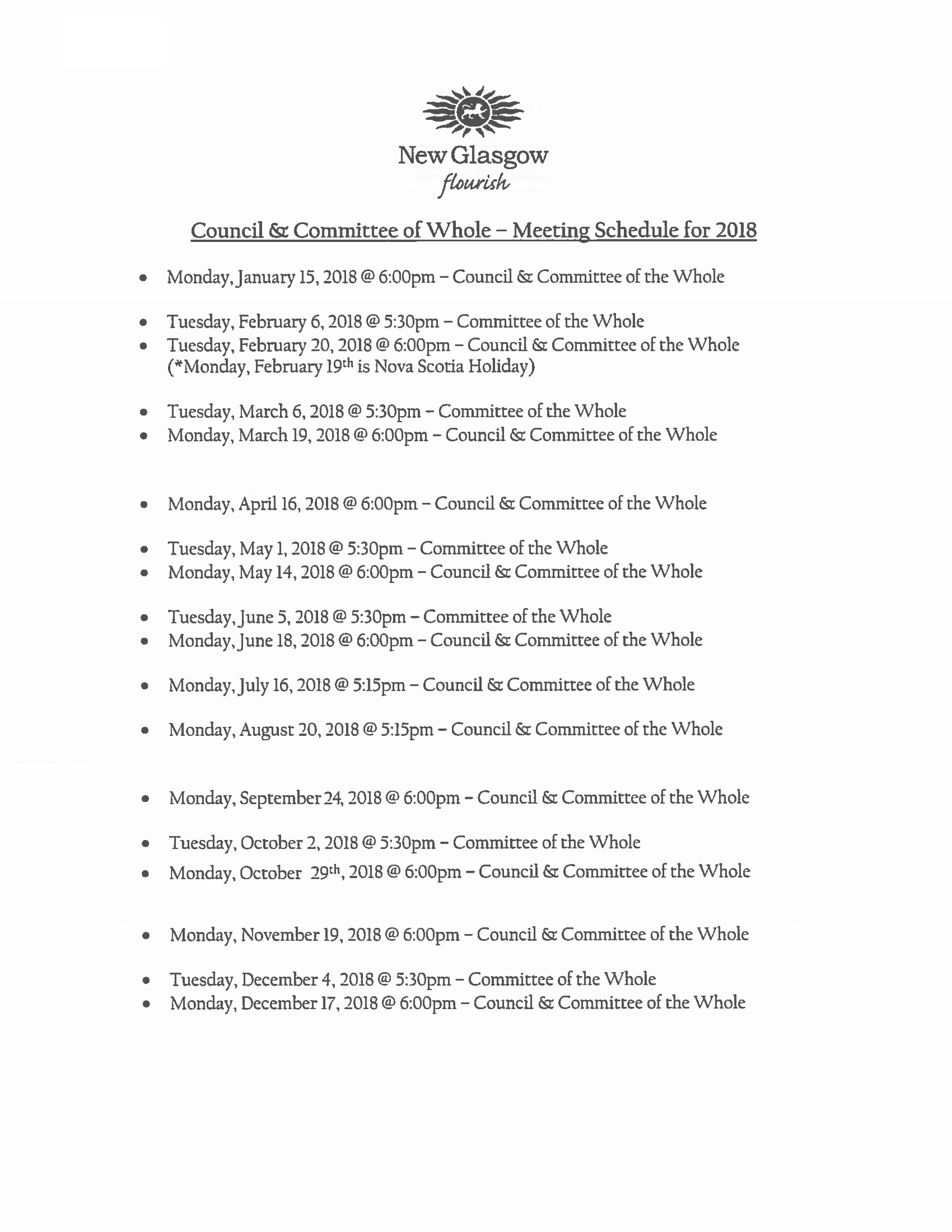 Council Schedule 2018 revised